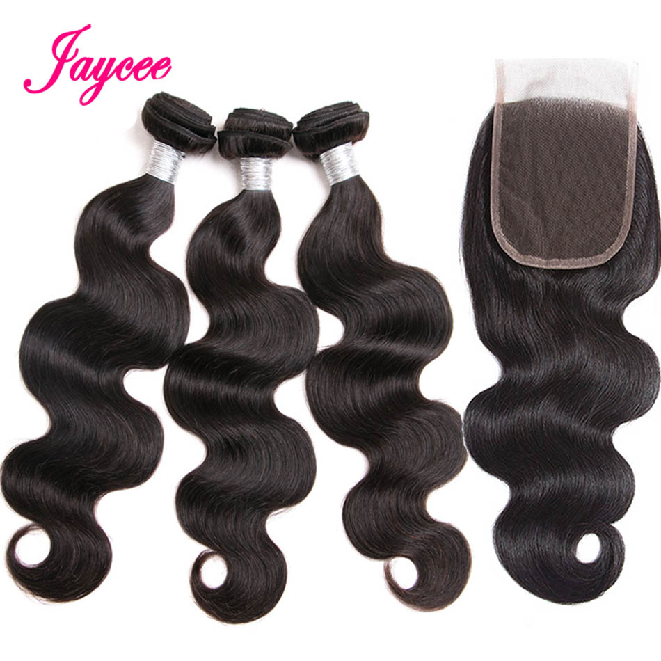 Jaycee Hair Extension Brazilian Body Wave Bundles with Closure bresiliens cheveux humain 4*4 Human Hair Bundles with Closure