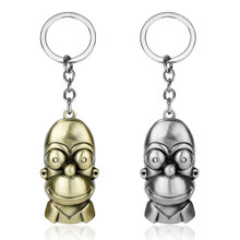 Classic Comic Anime Jewelry Cartoon Figure Toys Bart Simpson Pendants trinket Keychain Key Chains Keyrings for Woman Man(China)