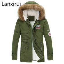 2018 new arrival men's thick warm winter down coat fur collar army green men parka big yards long cotton coat jacket parka men цены онлайн