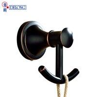 DELOGN European ORB bathroom hanging clothes double hook full copper bathroom hook wall hanging 21985300081