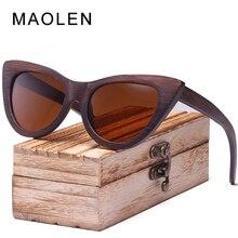 MAOLEN Wood Sunglasses Women Bamboo Frame Eyeglasses Polarized Lenses Glasses Vintage Design Shades UV400 Protection Eyewear