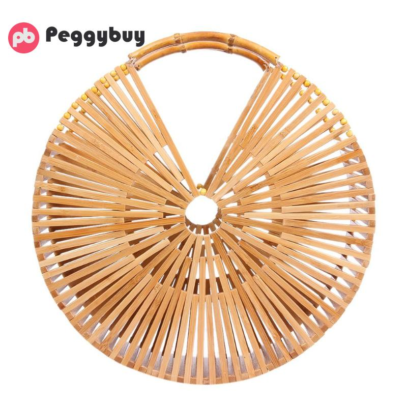 Bamboo Woven Women Round Handbag Tote Wristlets Girls Summer Beach Hollow Out Pouch Purse Pack Teen Lady Travel Small Clutch Bag u convex pouch leopard hollow out tight bodysuit