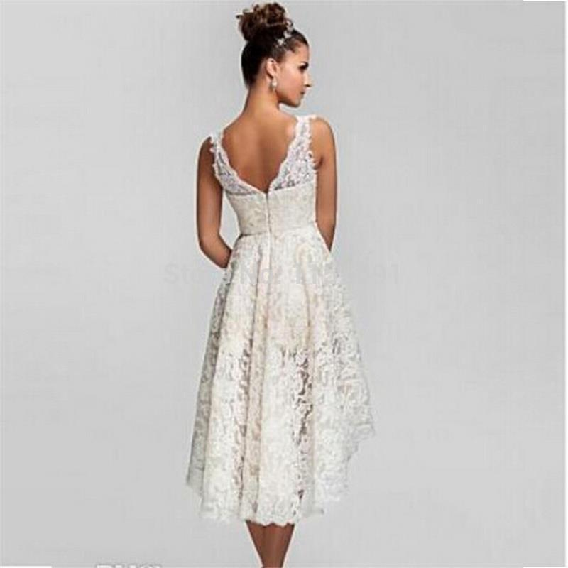 44fb9c66f6c 2016 Summer High Low Lace Beach Wedding Dresses Plus Size Sexy V Neck Cheap  Vintage Romantic Wedding Bridal Gowns-in Wedding Dresses from Weddings    Events ...