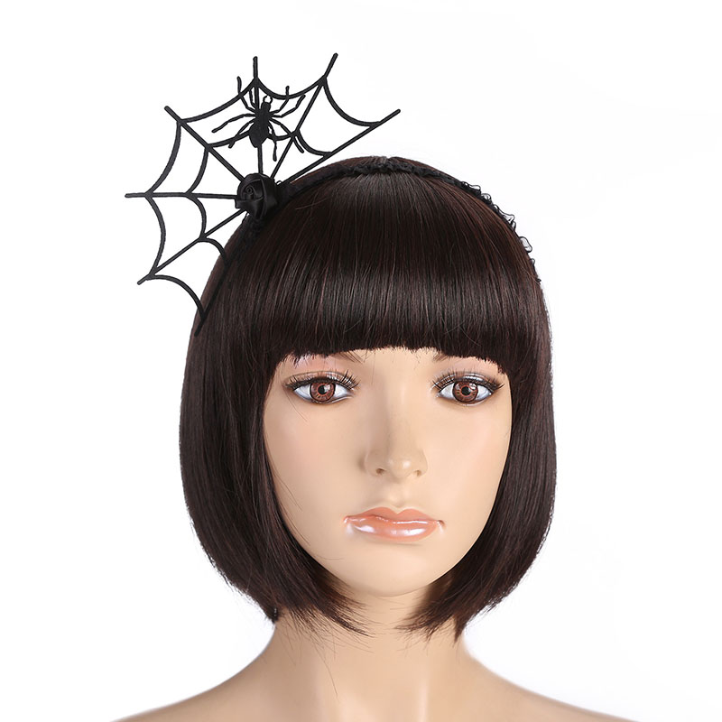 1PC Women Halloween Headband Spider Web Flower Hair Hoop Party Ornaments Cosplay Lace Veil Topper New Hair Accessories