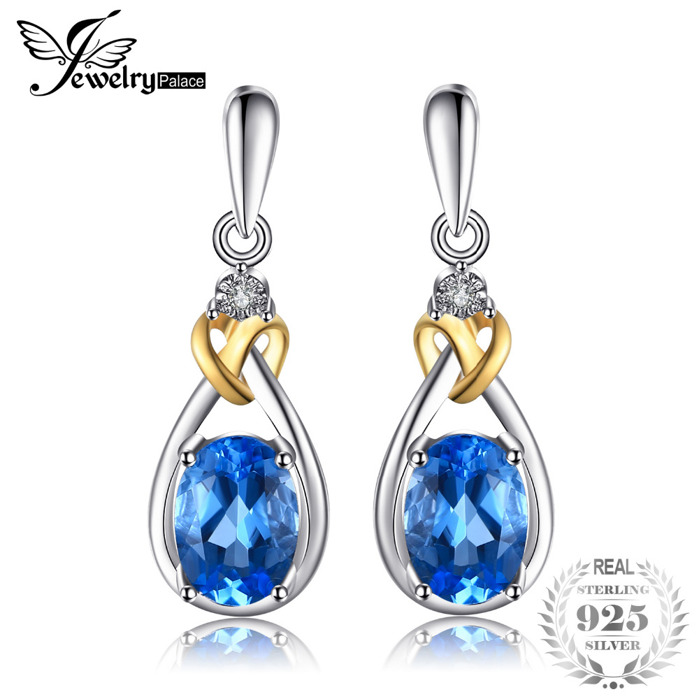 JewelryPalace Love Knot 1.9ct Natural Blue Topaz Earrings Dangle Diamond Solid 925 Sterling Silver 18K Yellow Gold Fine Jewelry diva 5 0ct natural swiss blue topaz sterling silver feather dangle earrings