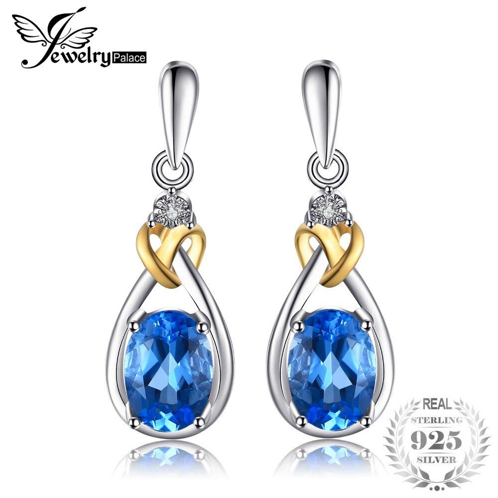 75a2aa25c29f Jewelrypalace amor nudo 1.9ct natural Topacio Azul Pendientes cuelgan  diamante sólido 925 18 K oro amarillo Joyería fina