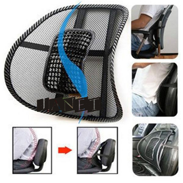 Black Mesh Lumbar Back Brace Support Cushion Mage Cool For Office Home Car Seat Chair