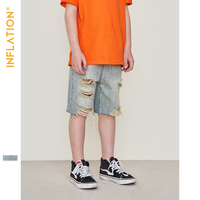 INFLATION Kids 5 10Years Jeans Shorts For Boy Summer Fashion Ripped Boys Denim Shorts Cotton Children Pants Mid Waist 9598S