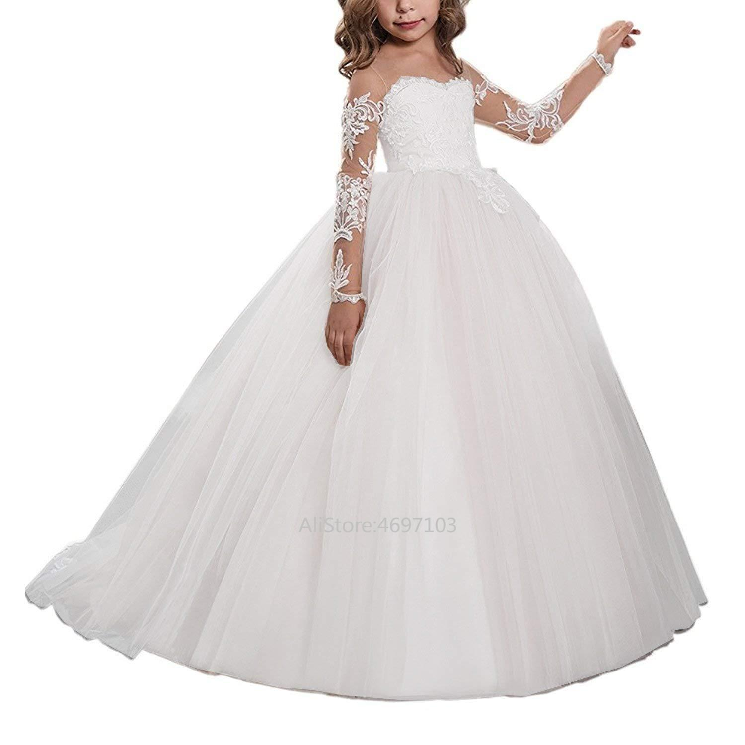 Flower Girls Pageant First Communion Scoop Lace Dress Bridesmaid Dress Girl Clothing Fashion Dress Formal Long Sleeve Princess