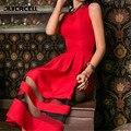 2016 Лето Женщины Без Рукавов Dress Sexy Vintage Сетки Лоскутное Выпускного Вечера Платья Макси