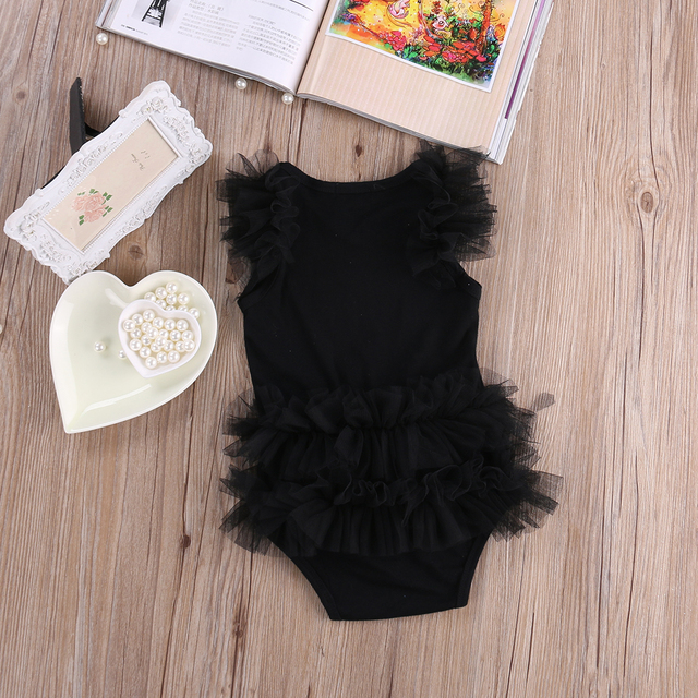 New Baby Girls Clothes Infant Girls Lace Bodysuit 3-18M Kids Clothes Summer Sleeveless Bow Princess Babies Bodysuits Black