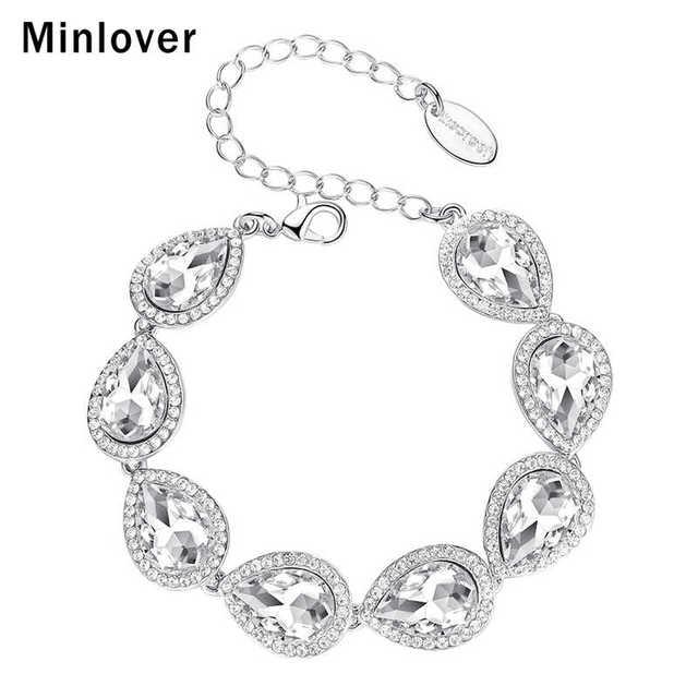 Minlover קריסטל Teardrop חתונה קישור שרשרת צמיד לנשים כסף צבע ריינסטון כלה תכשיטים אביזרי MSL051