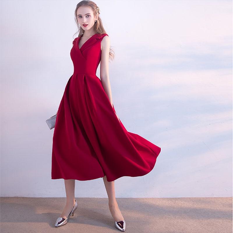 Burgundy   Prom     Dresses   V-neck Sleeveless Draped Skirt Elegant 2019 New Arrival A-line Formal Party   Dresses   Simple   Prom   Gowns