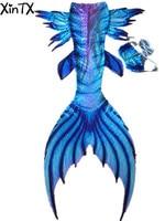 HOT Sale Ariel Mermaid Swimsuit For Kids Adult Mermaid Tails With Flipper Monofin Beauty Swimwear Cosplay