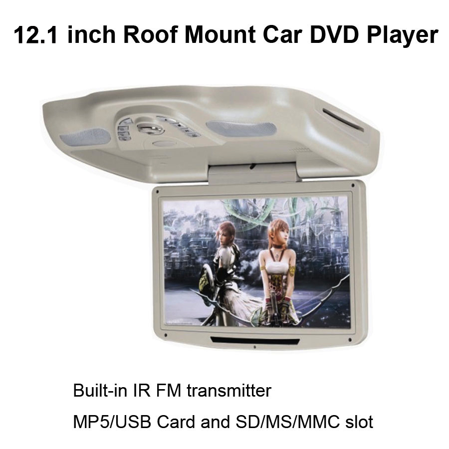 12.1 inch Digital Screen Flip down Car Roof DVD Player with Built-in IR & FM Transmitter