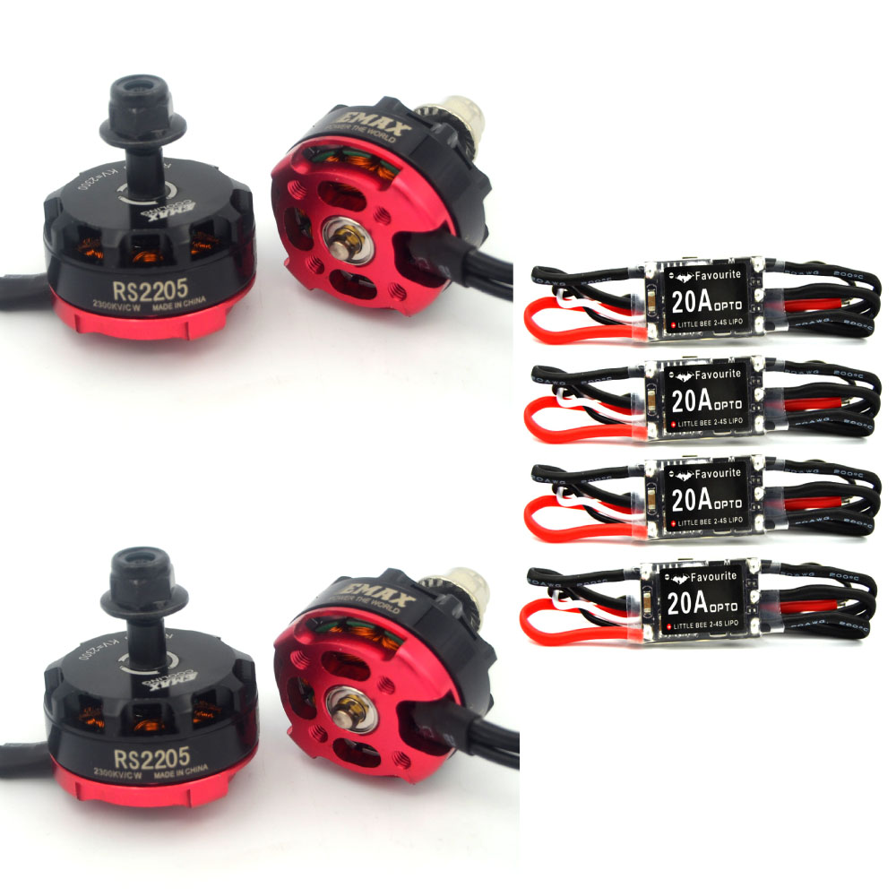 RC plane 4 Pcs Fvt Little Bee 20a Mini Esc 2-4s+EMAX RS2205 2300KV CW/CCW Brushless Motor for FPV Mini Racing Quadcopter rc plane qav zmr250 3k carbon fiber naze 6dof rve6 rs2205 favourite 20a emax