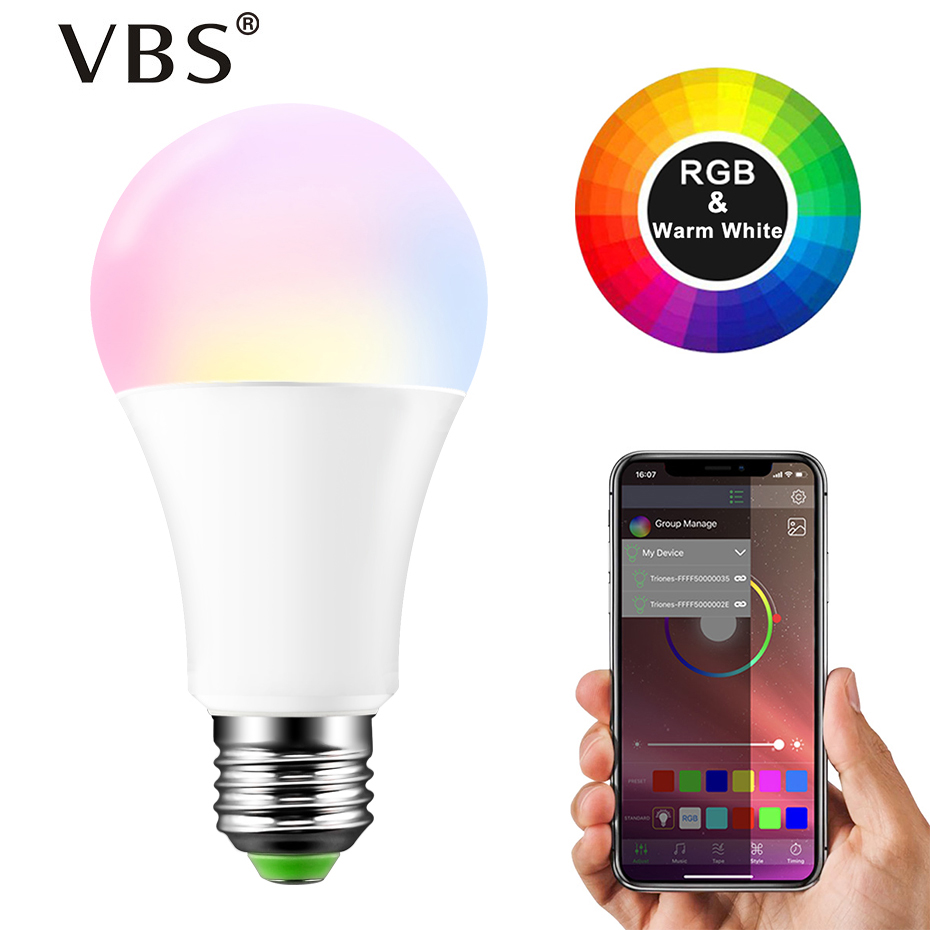 Dimmable E27 LED Bluetooth 4.0 Smart Bulb Magic Lamp RGBW 15W AC85-265V Music Voice Control Color Changeable For Home Lighting  Dimmable E27 LED Bluetooth 4.0 Smart Bulb Magic Lamp RGBW 15W AC85-265V Music Voice Control Color Changeable For Home Lighting