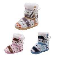 винтаж печати для маленьких мальчиков ботинки для девочек зима-осень теплый плюш модные этнические стиль малыша дети обувь