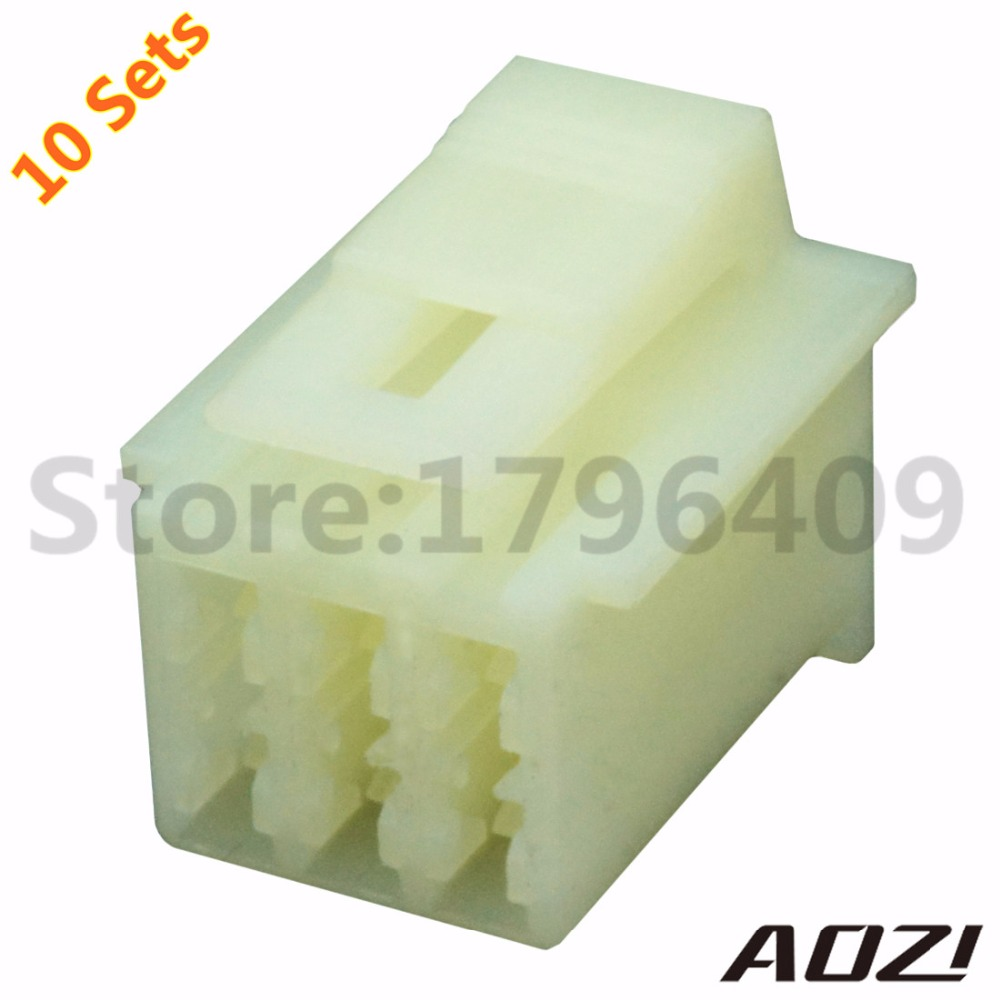 10 Sets Female Auto Wire Harness Connector 6090 1218 23mm Series Tables 6 Pins