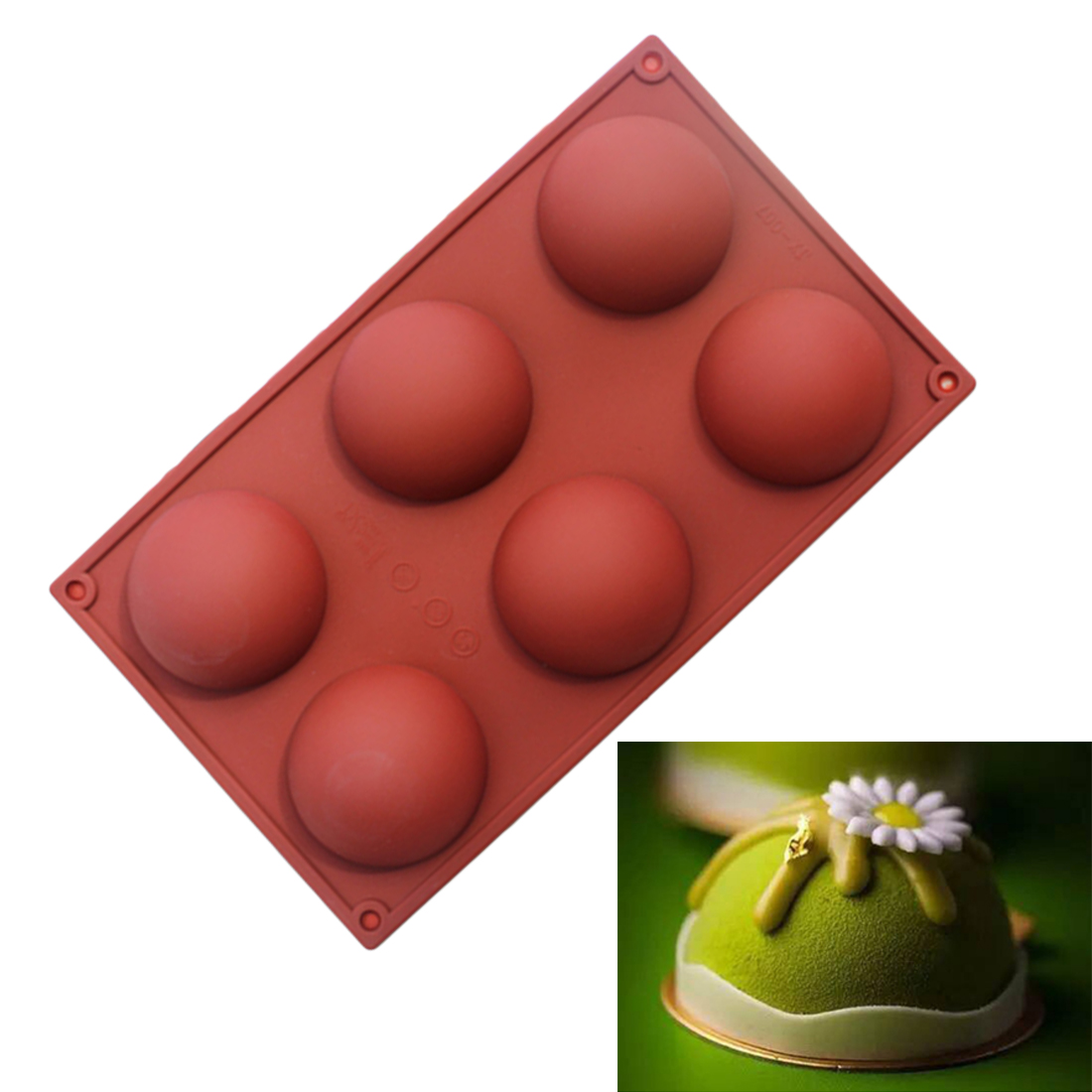 Hot Sale 6 Holes New Cake Tools Fondant Kitchen Bakeware Silicone Cupcake Baking Tray Mousse Cake Mold Muffin Pan