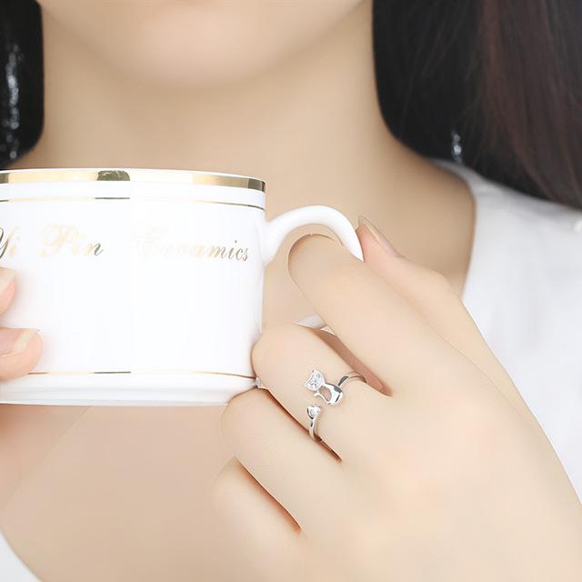 Cat Shape Wedding Engagement Adjustable Ring for Women