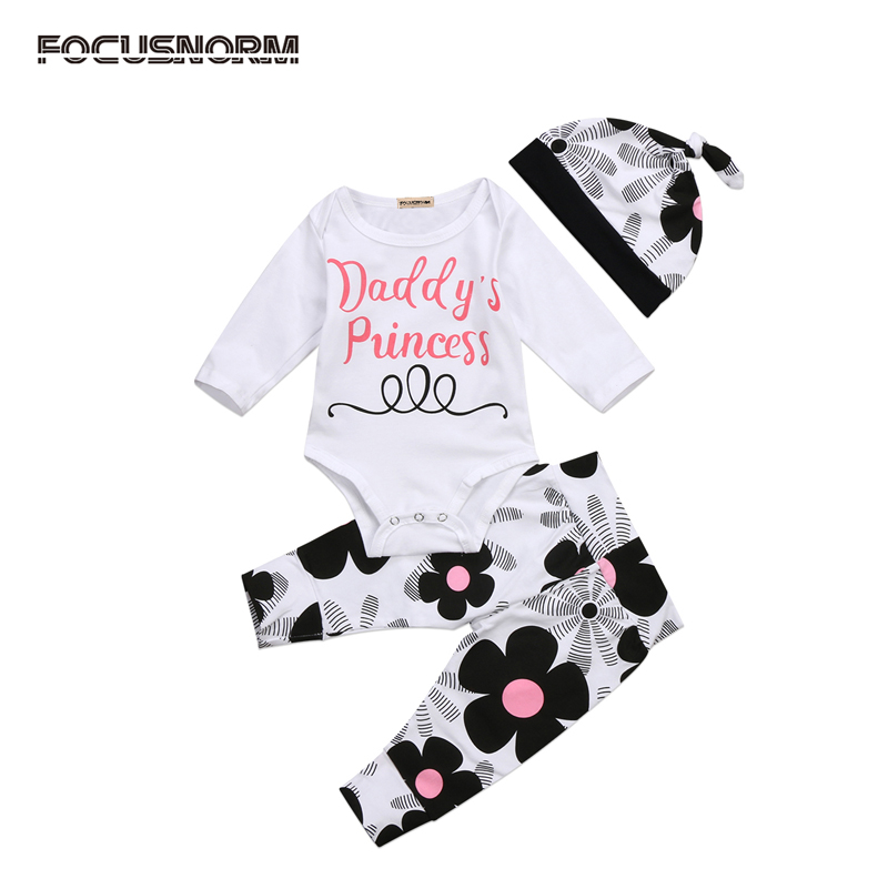 3PCS New Casual Newborn Baby Girls Clothes Tops Long Sleeve Romper Pants Leggings Hat Outfits Clothes Set 0-18M