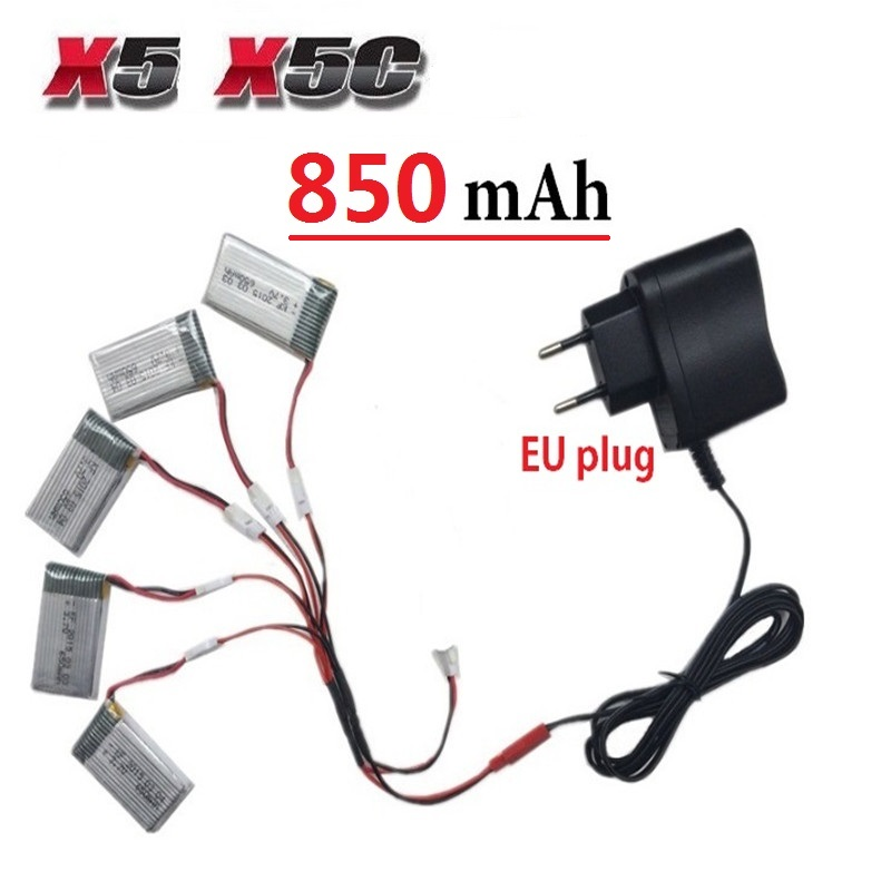 Teeggi 850mAh 3.7V LiPo Battery + Euro Plug AC Charger for SYMA X5C X5 X5SW X5HW X5HC RC Drone Quadcopter Spare Battery Parts syma x5hc x5hw rc quadcopter parts 5 pcs 3 7v 600mah lipo battery with 5 in1 usb charger adapter cable drone spare parts set