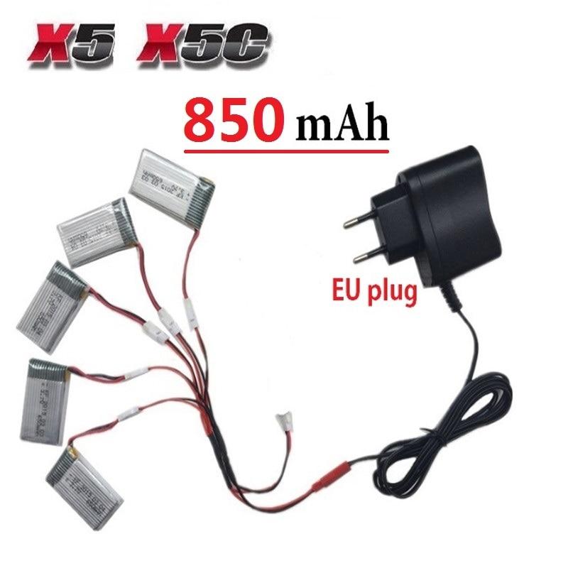 Teeggi 850mAh 3.7V LiPo Battery + Euro Plug AC Charger for SYMA X5C X5 X5SW X5HW X5HC RC Drone Quadcopter Spare Battery Parts