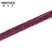 """SHINYGEM 2 מ""""מ/3 מ""""מ פיאות עגול AAAA כיתה אמיתי גרנט טבעי אבן חרוזים להכנת תכשיטים עלה אדום ברור גרנט רן אבן"""