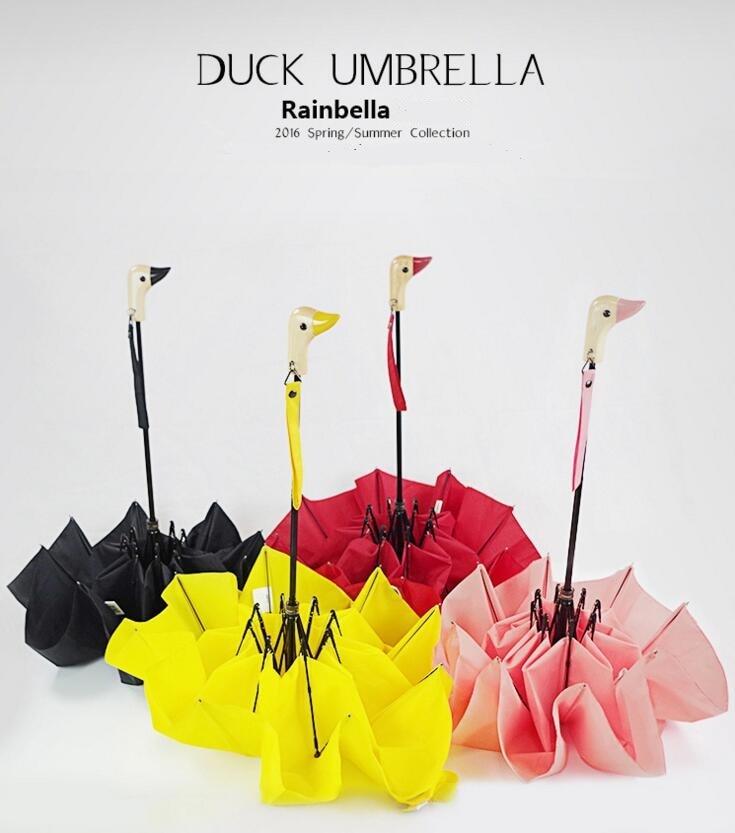 Nieuwe Drie Vouwen Eend Mond Handvat Craft Paraplu Regen en Parasol - Huishouden