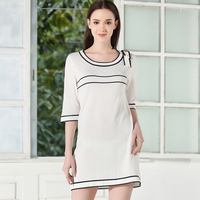 2017 Summer Dress Women Round Neck White Black Women Casual Loose Plus Size Dresses Party Vestidos Mujer Ladies Clothes 50X022