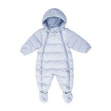 Зимний комбинезон для новорожденных Для маленьких мальчиков девушка Теплая зима Пуховое пальто Верхняя одежда спортивная одежда для малышей куртка с капюшоном 90% утка Перо