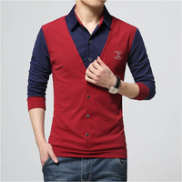 2016 New Autumn Fashion Patch Design Men S Shirt T Shirt Fake Two Long Sleeve Turn