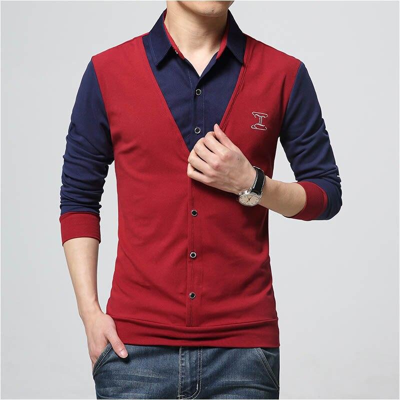 2016 New Autumn Fashion Patch Design Men's Shirt T-s
