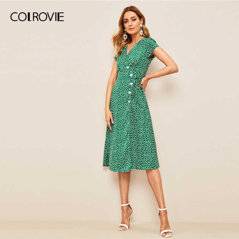 COLROVIE зеленое платье миди с v-образным вырезом и цветочным принтом и пуговицами Boho женские 2019 летние праздничные повседневные платья для девушек с высокой талией