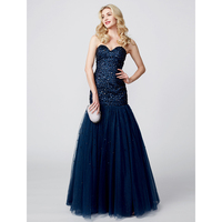 TS Couture A Line Princess Sweetheart Sweep Brush Train Satin Tulle Formal Evening Dress With Beading