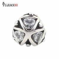 YUJIANNI Katı 925 Ayar Gümüş Kristal Üçgenler Charms Boncuk Avrupa Marka 3.0mm Bilezik & Kolye Takı