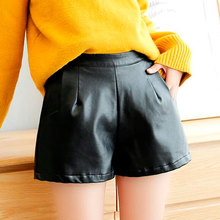 New Arrival Women Wide Leg PU Faux Leather Shorts Ladies Black High Quality Casual Loose Short Pants With Pockets Plus Size цена и фото