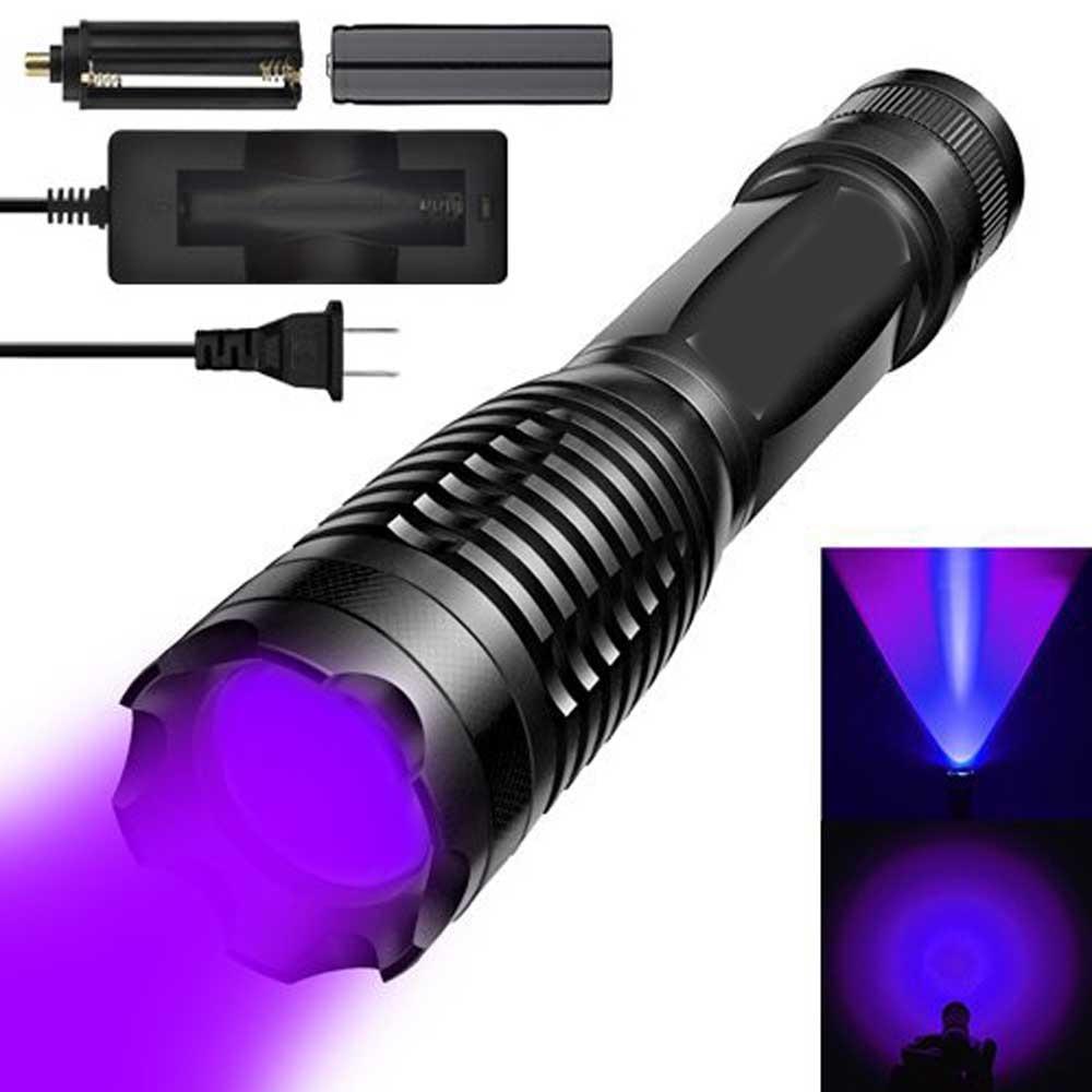 Light Flashlight,UV 365nM Ultraviolet LED Pet Urine Detector Bed Bug Finder Dog Stain Remover 18650 Battery Charge luz Negro цена