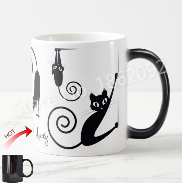 Funny Stylish Crazy Cat Lady Magic Mug Modern Black Cat Coffee Mug