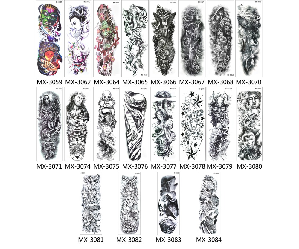 Image 5 - 50pcs Wholesale Bulk Order Full Arm Tattoo Sleeve Temporary Tattoo Stickers Tatoo Hundred Designs Body Art for Women Men 2019-in Temporary Tattoos from Beauty & Health