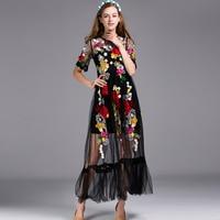 Luxury Dress New 2019 Summer Fashion Street Vintage Flower Embroidery With Sling Slim Women Mesh Black Elegant Long Dress