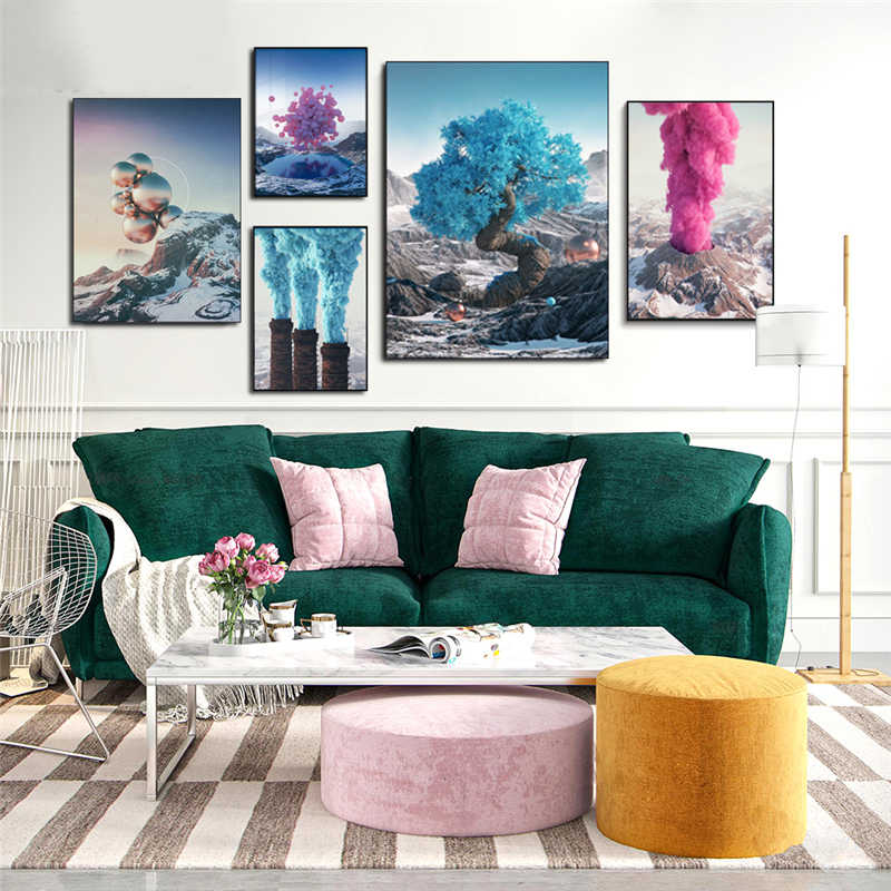Fantasy Pink Balloon Mountain Volcano Eruption Blue Tree Smoke Landscape Canvas Painting Art Poster Home Room Decor Wall Picture