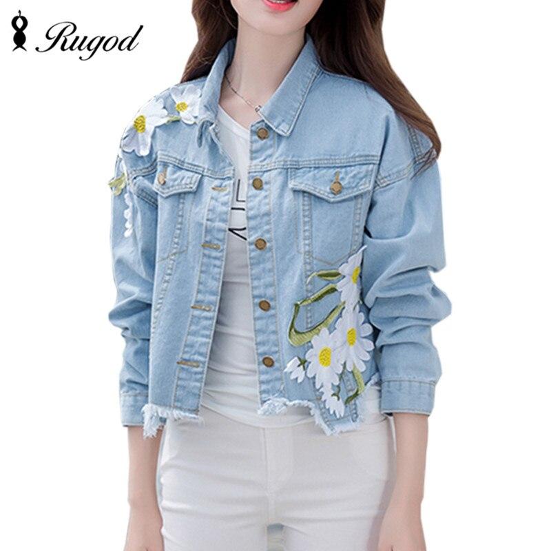 2018 Nová módní příchozí dámská výšivka džínové bundy vintage příležitostné dlouhý rukáv volný kabát žena Jean Jacket Outerwear