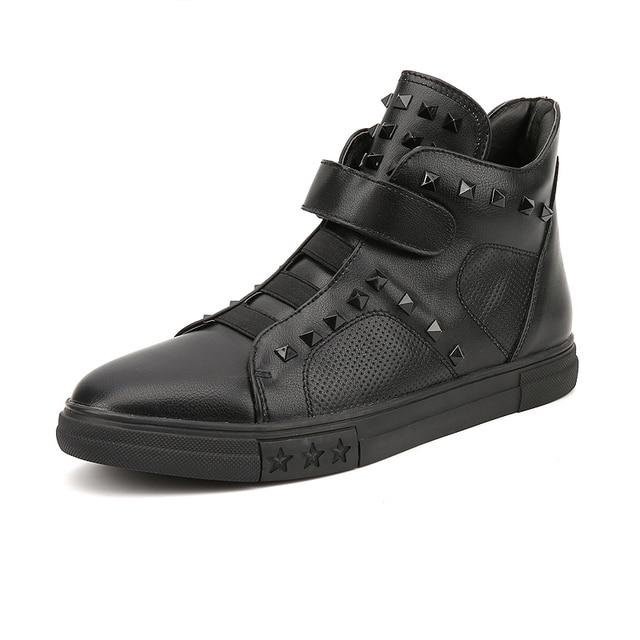 classic cool boys hip hop boots plus rivets vamp fashion mens street dance high top shoes pure white black color man trend boot