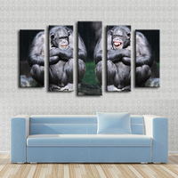 2016 Cuadros Decoracion 5pcs Chimpanzee Couple Cute Animals Monkey Funny Wall Painting For Home Decor Art