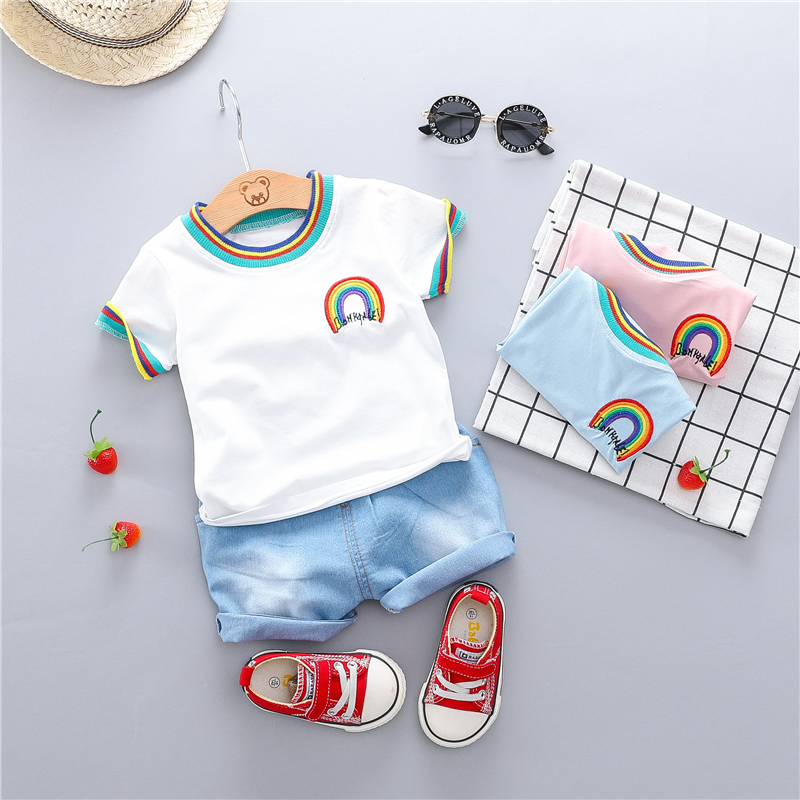 17dab5c7b HYLKIDHUOSE 2019 Summer Toddler Infant Clothing Sets Baby Girls Boys  Clothes Sets Rainbow T Shirt Shorts