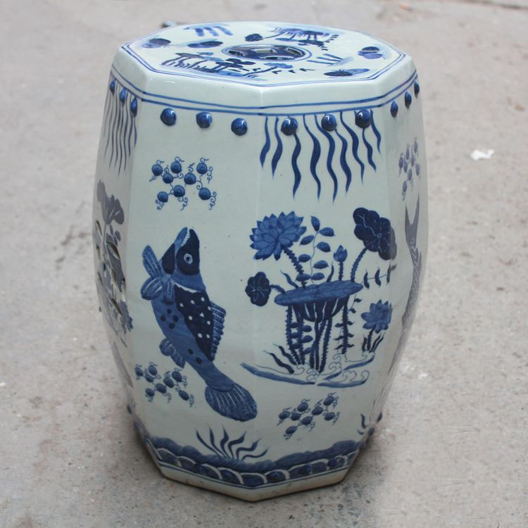 Antique Chinese HAND PAINTED fish Blue and White Ceramic Garden Furniture Stool wildwood lamps 292499 antique finished ceramic hand made and glazed tang horse braying