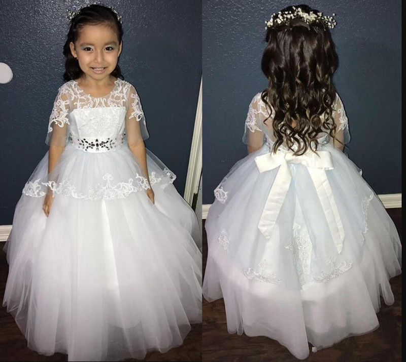 Gorgeous Flower Girl Dress For Wedding with Belt Attached with Rhinestone Ribbons Half Sleeves Sheer Back Custom Made Prom Dress
