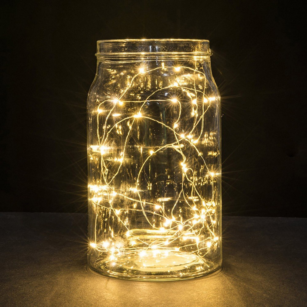 Wire-String-Lights Starry Party/wedding-Decoration Battery-Operated 1M 10 Copper Led
